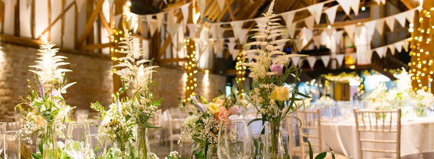 Beautiful bunting at a wedding breakfast - image