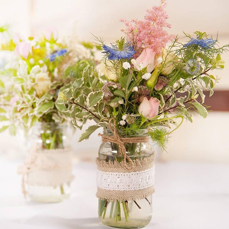 Blue Sky Bunting Glass Jar with flowers image