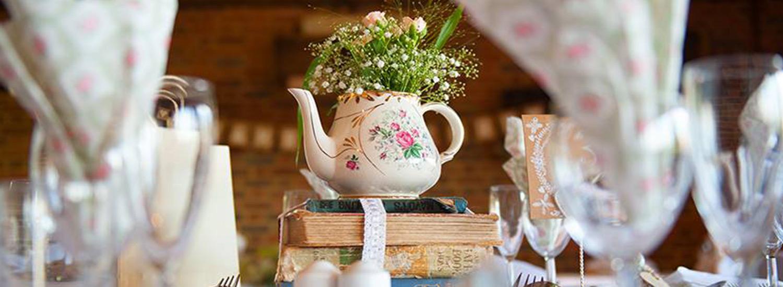 Blue Sky Bunting Vintage Teapots - image