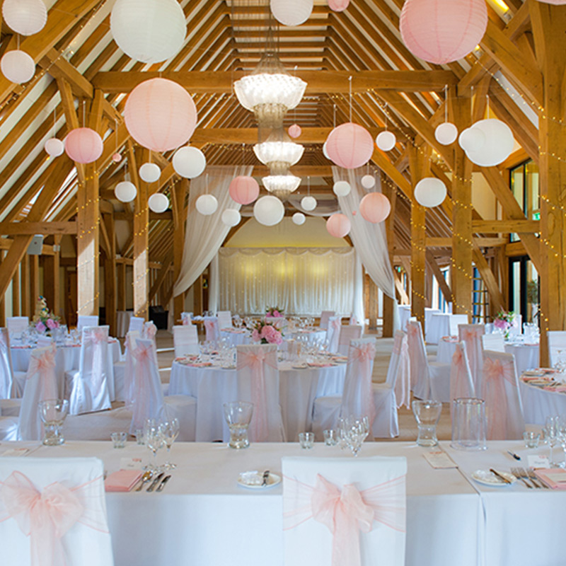 Blue Sky Bunting Paper Lanterns in a beautiful barn image