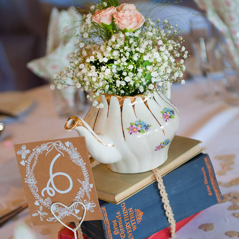 Blue Sky Bunting Beautiful Vintage Teapot - image